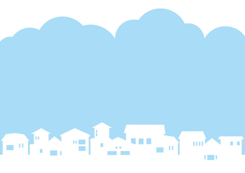 Blue sky and residential silhouette