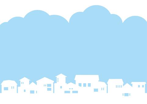 푸른 하늘과 주택 실루엣