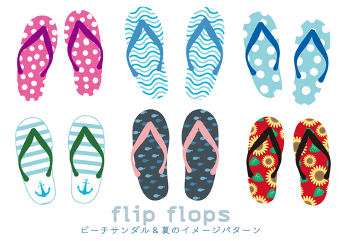 Beach sandals and summer patterns