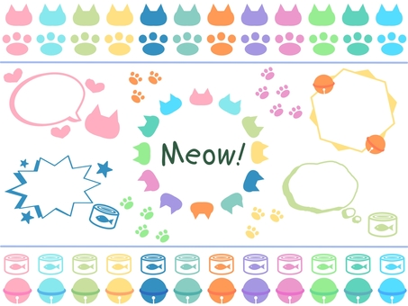 Cat colorful frame & icon set