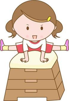 Girl flying in a jump box