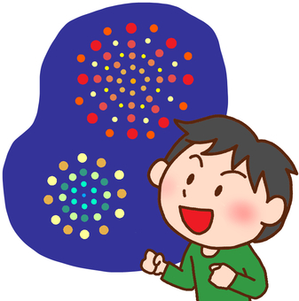 Illustration of a boy watching fireworks
