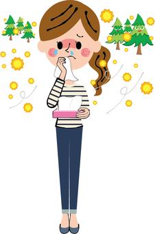 花粉症箱ティッシュ涙と鼻水を拭く女性全身