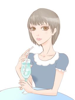 一个女人喝碳酸0001