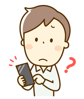 Male question with smartphone