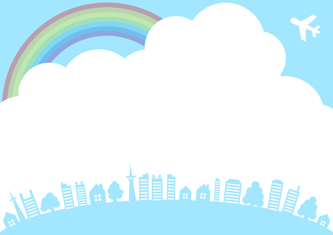 Blue sky rainbow frame with airplane and tree and frame of landscape frame