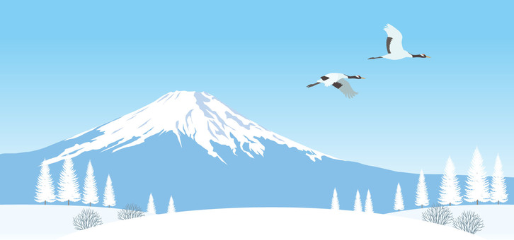 Fuji winter scene crane illustration
