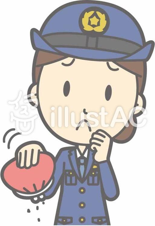 警察官女性a-お金無い-バストのイラスト