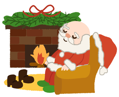 Santa Claus snoozing in front of the fireplace