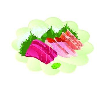 생선회 모듬 (하얀 꽃 모양의 접시)