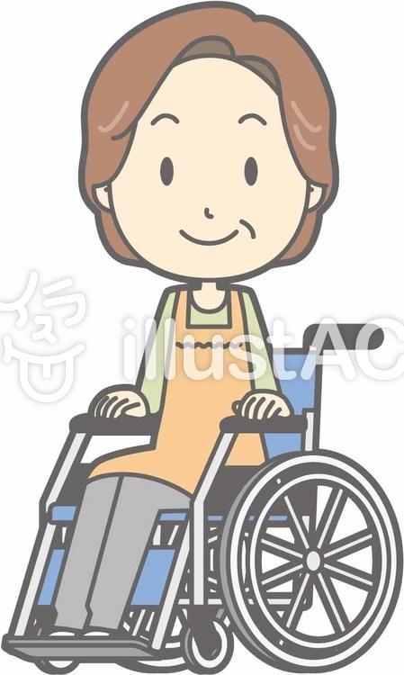 中年主婦a-車椅子笑顔-全身のイラスト