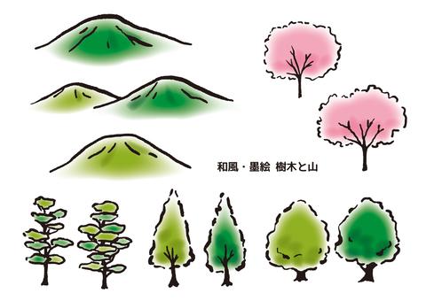 일본식 수묵화 나무와 산