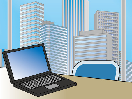 オフィス街(45)高層ビル ノートPC3