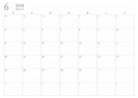 書き込みカレンダー月始まり2018年6月