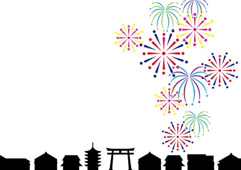 Cute fireworks and cityscape black