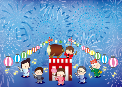 Illustration of summer festival fireworks and bon o dori