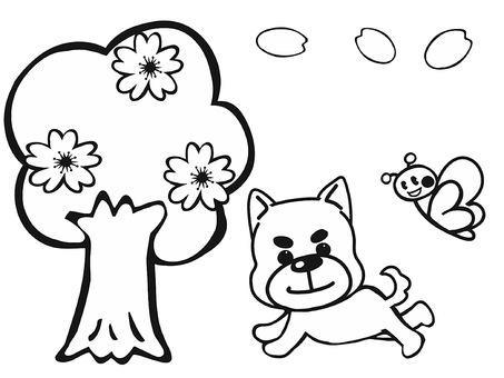 벚꽃과 완코와 나비 흑백