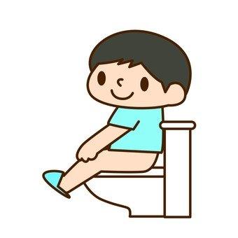 A boy / a toilet