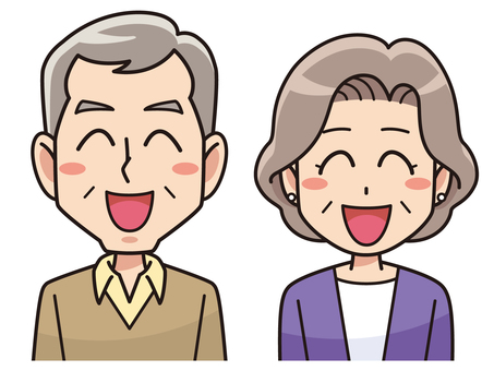 An elderly couple with a smile
