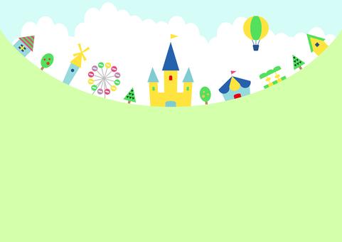 Amusement park landscape copy space