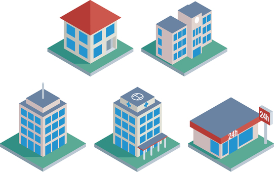 Quarter view building icon set