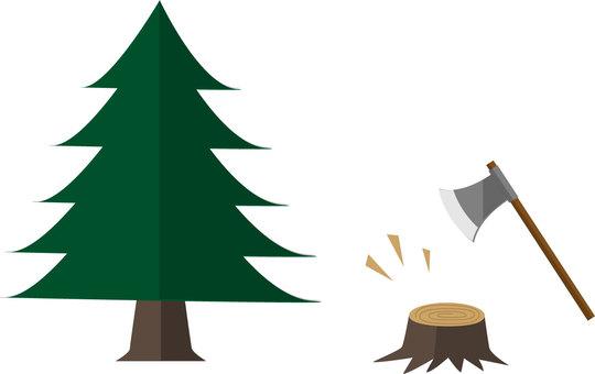 Stump and tree