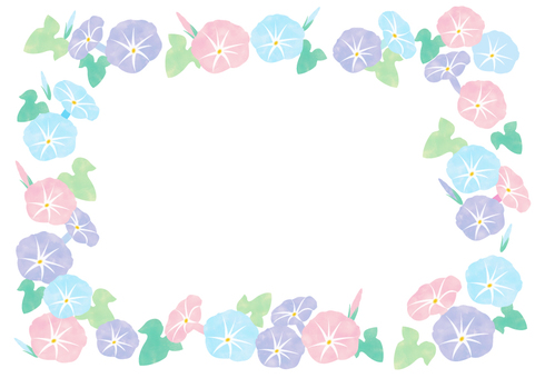 Watercolor morning glory frame