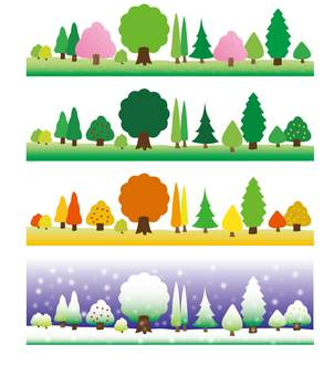 Various trees - spring, summer autumn winter
