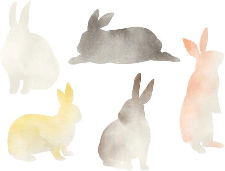 토끼 수채화 실루엣