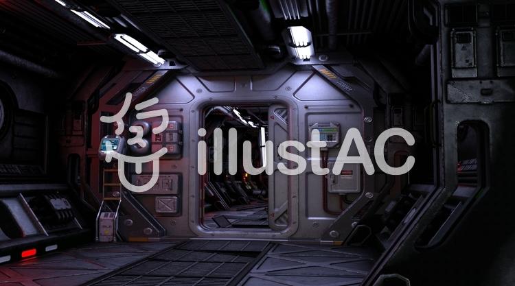 宇宙船内通路(corridor)のイラスト