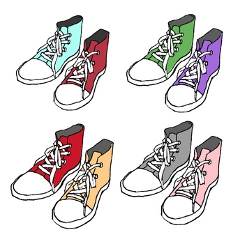 Different sneakers with different colors