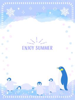 Summer watercolor penguin frame 4
