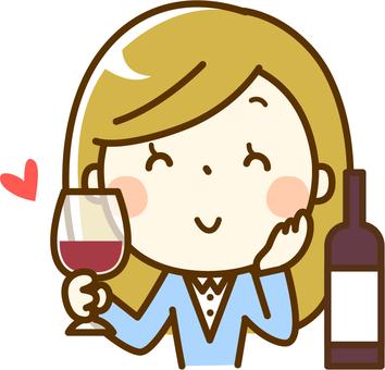 一個女人喝酒