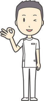 Male nurse short hair - 03 - whole body