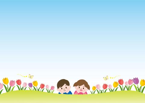 チューリップ畑と子供たち_B02