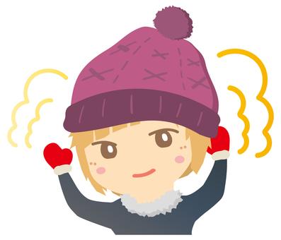 니트 모자로 따뜻해 여자