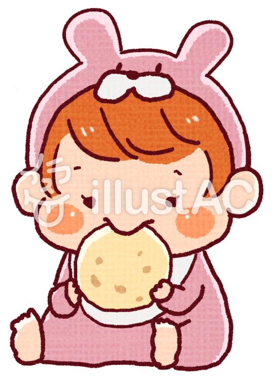 お菓子を食べる赤ちゃん女の子イラスト No 1060614無料イラスト