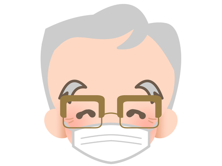 Elderly people with glasses - mask - laugh 190210