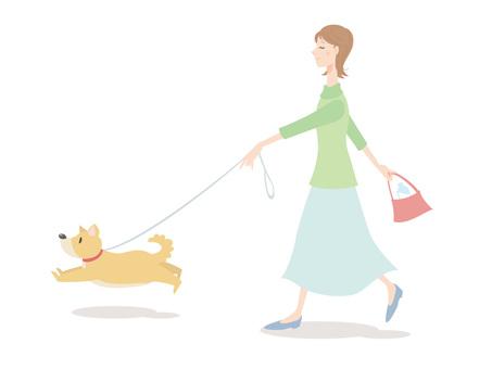 Woman _ walk of a dog