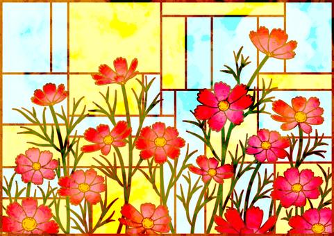 彩色玻璃樣式波斯菊背景