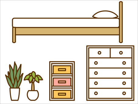 Furniture (bed, color box, houseplant)