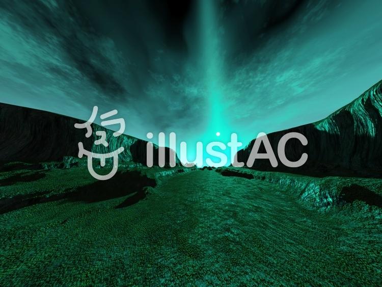 緑の崖谷のイラスト