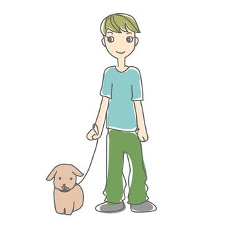 A person walking a dog