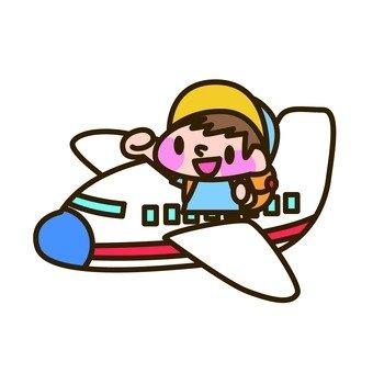 Boys riding an airplane