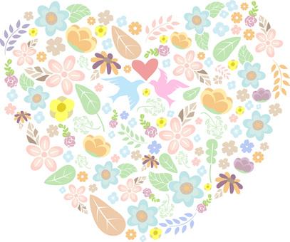 Heart flower plant leaf bird