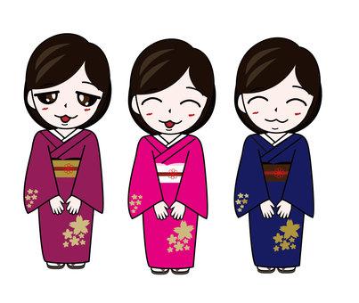 Cute kimono women