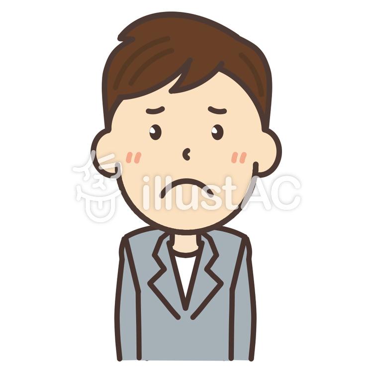 悲しい表情のジャケットを着た男性イラスト No 1079118無料イラスト