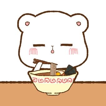 Shirokuma eating ramen