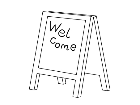 Standing signboard (line drawing · welcome)