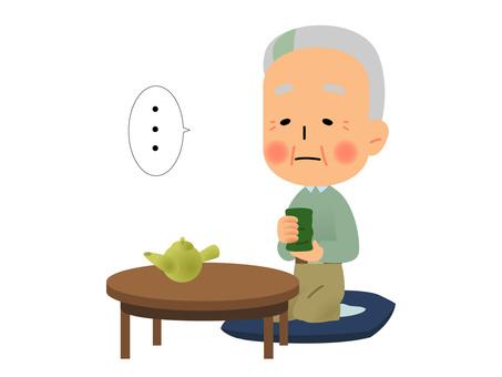 Grandpa drinking tea